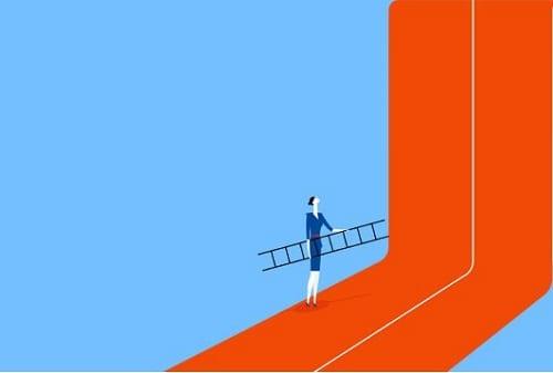 Ilustração de uma mulher com uma escada tentando subir uma grande parece que representa um limite
