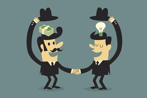 Ilustração de dois homens em um aperto de mãos simbolizando uma negociação