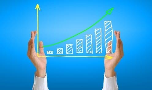 Ilustração de um gráfico com uma curva ascendente