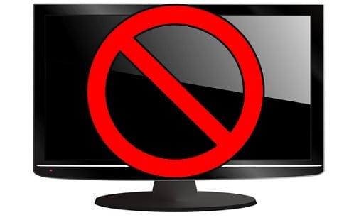 Tv com o símbolo de proibido sobre ela