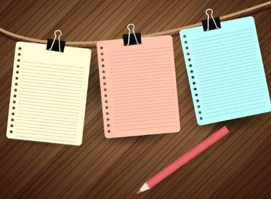 3 folhas para anotações e um lápis