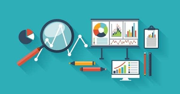Ilustrações de vários gráficos de investimentos