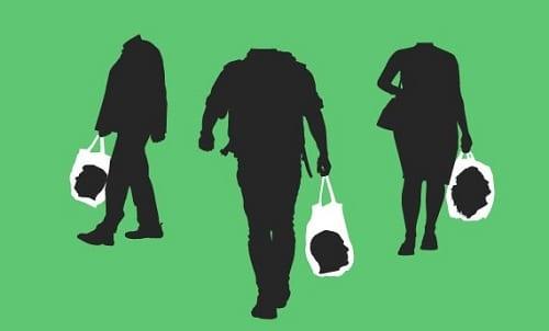 Ilustração de pessoas levando suas cabeças dentro de sacolas simbolizando o consumismo