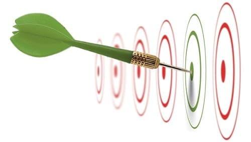 Vários alvos e um dardo atingindo um deles simbolizando metas