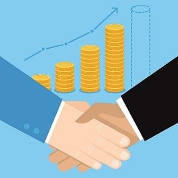Ilustração de aperto de mãos e várias colunas de moedas simbolizando investimentos