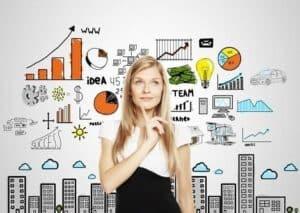 Mulher, gráficos, dinheiro, lâmpada simbolizando o tema montar um negócio