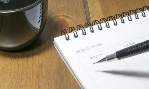 pessoa escrevendo em um plano semanal