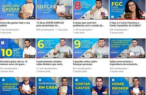 Página do YouTube simbolizando o tema canais de finanças pessoais