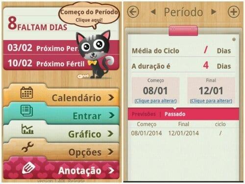 Print da tela do app Meu calendário