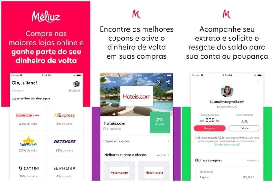 Print do aplicativo para ganhar dinheiro Méliuz
