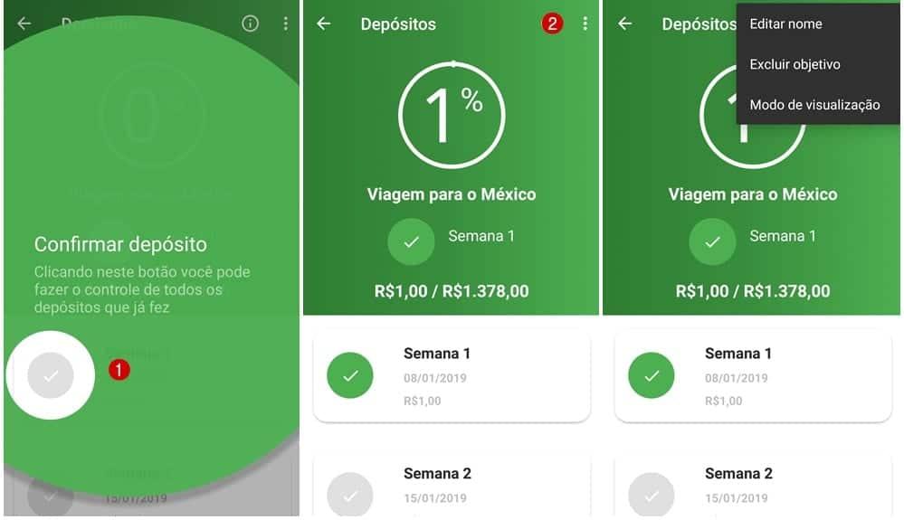 Tela de acompanhamento do app Mobills desafio 52 semanas