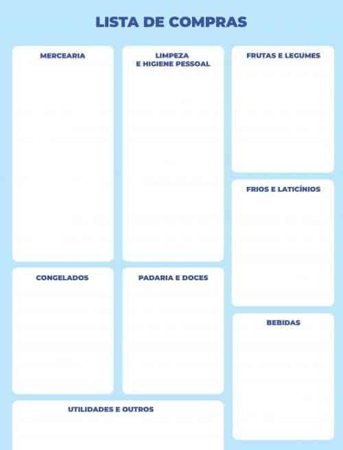 lista de compras simples azul
