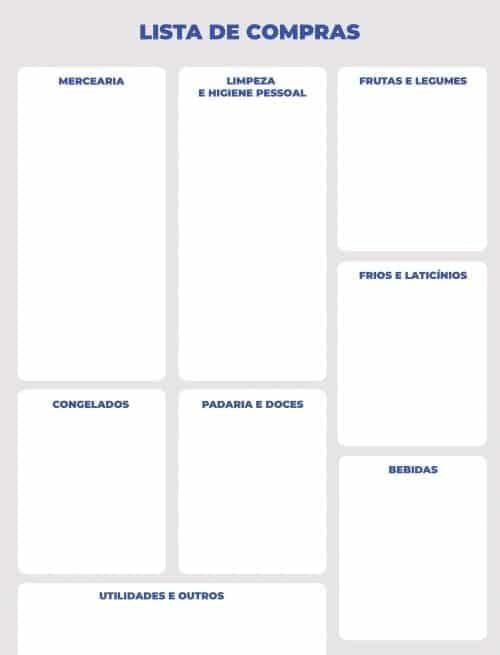 lista de compras simples cinza