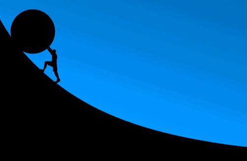 Ilustração de homem empurrando pedra gigante para simbolizar o tema Filmes de superação