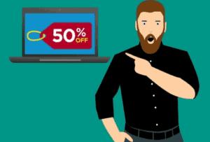 Desenho de homem apontando para um percentual de 50% em um notebook para simbolizar o tema Aplicativo de desconto