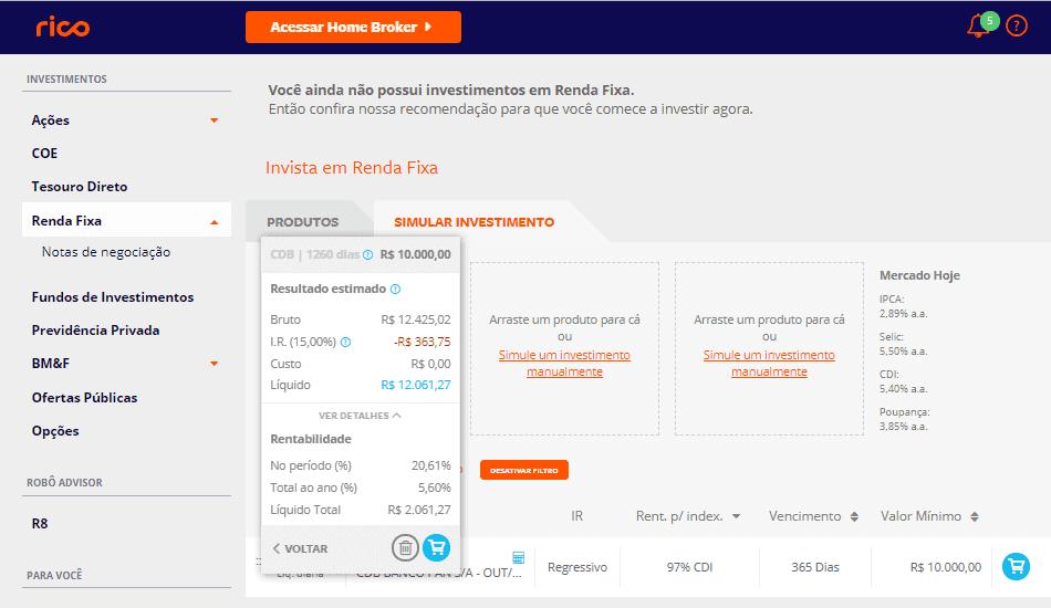 Print da tela dos investimentos em CDBs da Corretora Rico