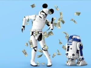 robôs e notas de dinheiro