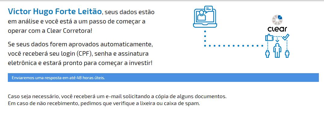 Print 2 sobre Como abrir uma conta na Corretora Clear