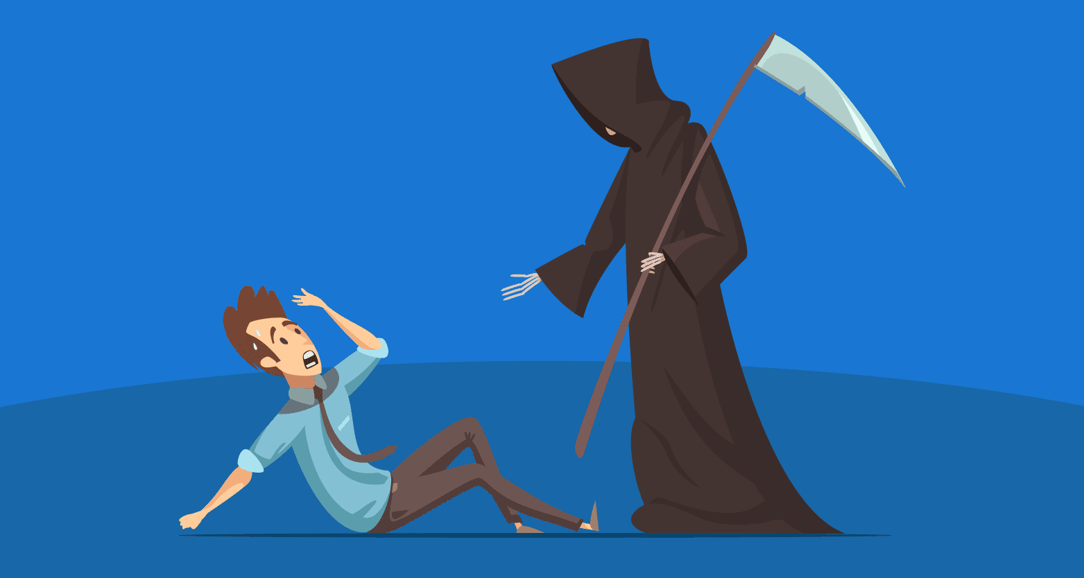 Ilustração de um homem com medo