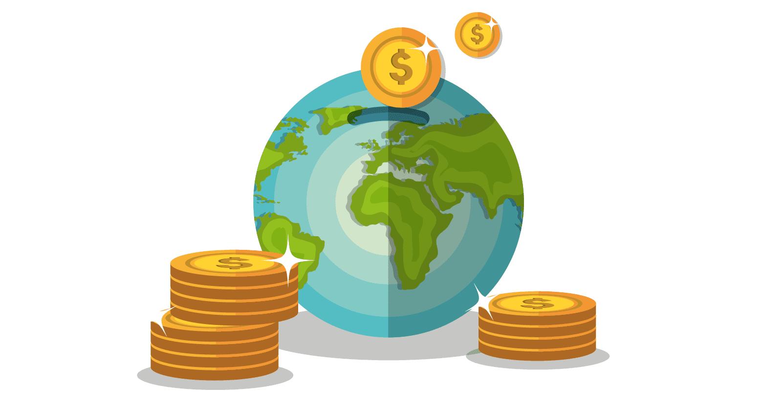 Ilustração com o globo da Terra e várias moedas