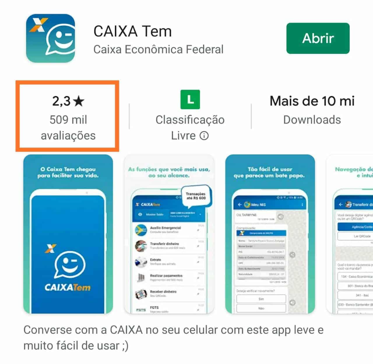 Print sobre a avaliação do app Caixa Tem