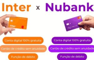 Ilustração com um comparativo entre Banco Inter ou Nubank