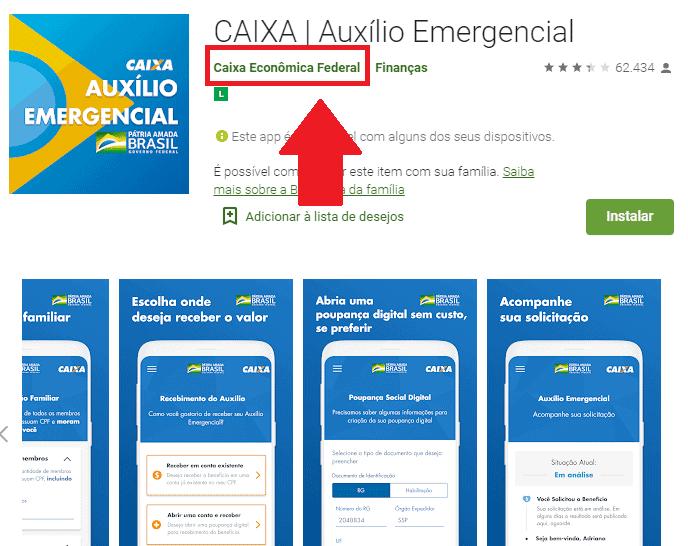 Print do aplicativo auxílio emergencial da Caixa no Google Play