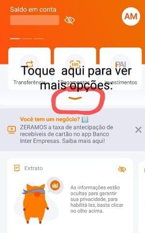 tela do app banco inter