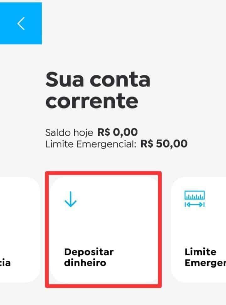 imagem da tela inicial do app do banco pan para mostrar como depositar dinheiro