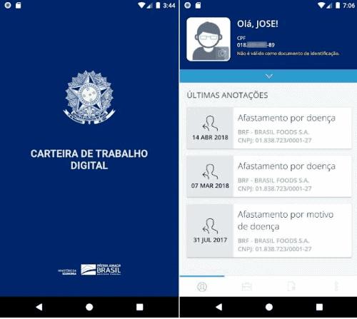 Print da tela inicial do aplicativo da CTPS digital