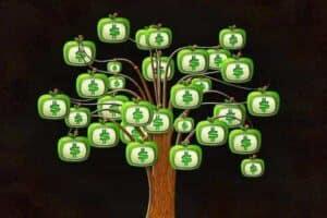 Ilustração de árvore com folhas de dinheiro simbolizando o tema Renda extra online
