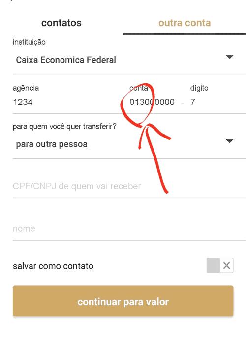 Imagem mostrando como fazer transferência do Itaú para a Caixa
