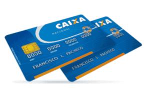 Foto de cartões Caixa para simbolizar o tema onde fica o número da conta no Cartão Caixa