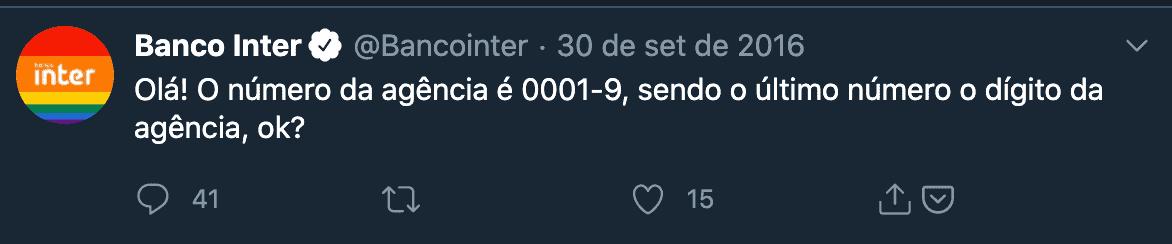 Dígito da agência banco inter