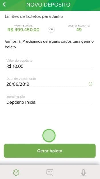 tela do app do banco