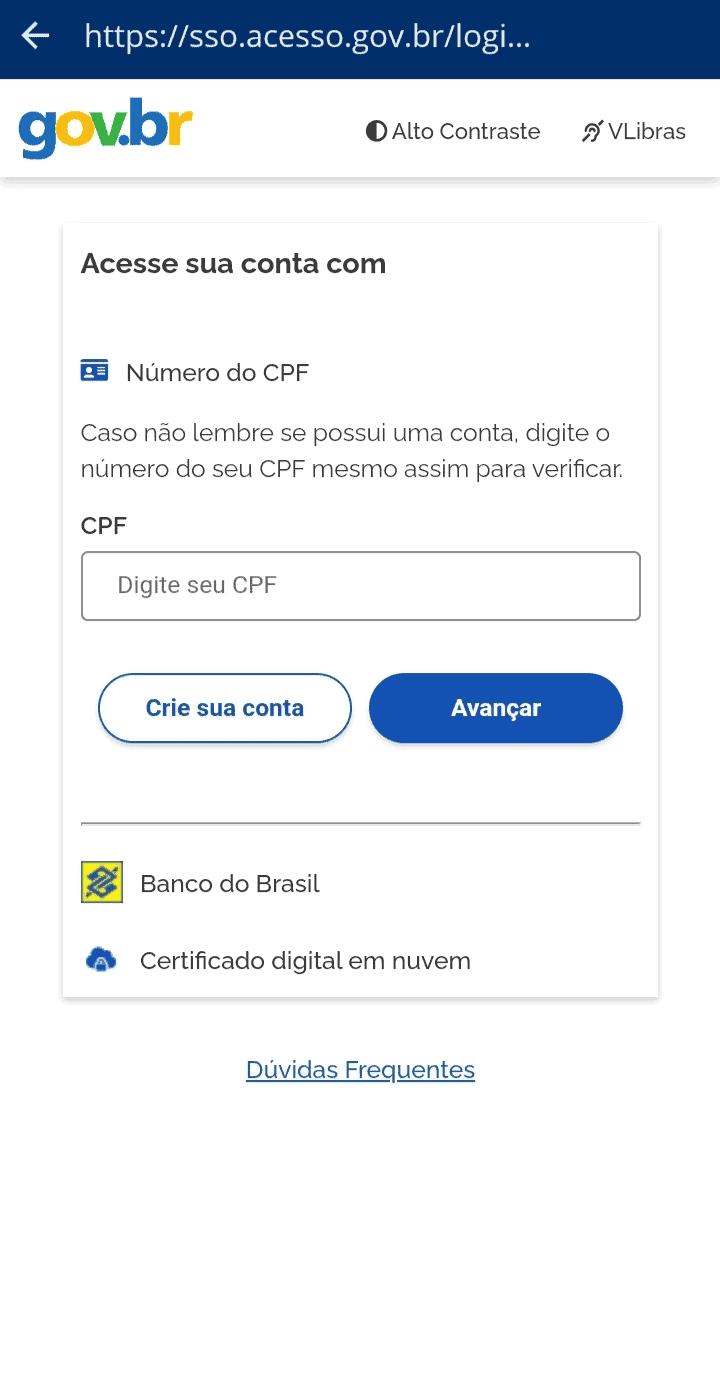 Print screen do aplicativo carteira de trabalho digital