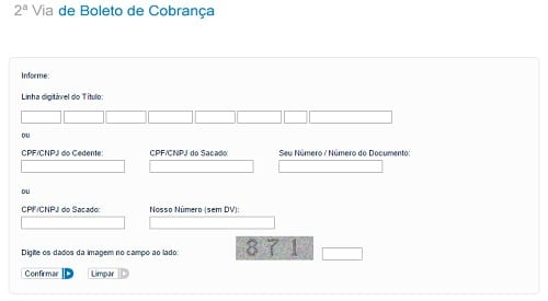 Formulário para solicitação de 2ª via do boleto BB