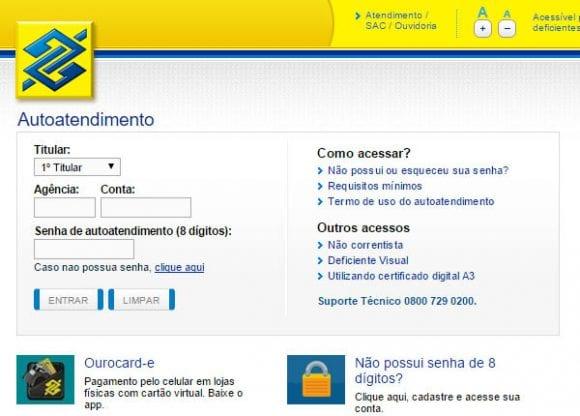 Acesso ao banco do brasil
