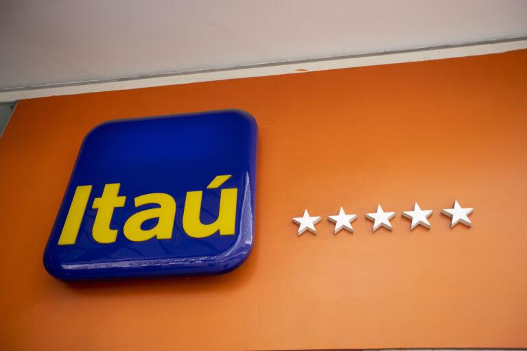 Sao Paulo, Brazil - december 29 2019 - Logo of Itau, a brazilian commercial bank and financial services company