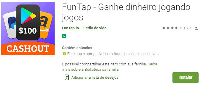 imagem da classificação do FunTap na play store