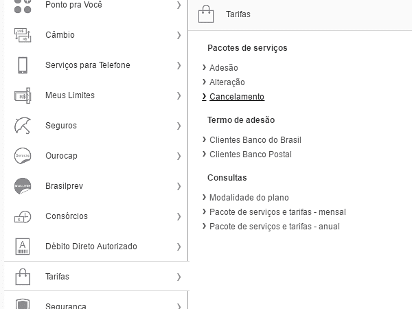 Menu Tarifas Banco do Brasil
