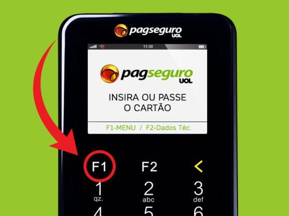 Clique na tecla F1, na Moderninha Plus e Wi-fi, para acessar o Menu.