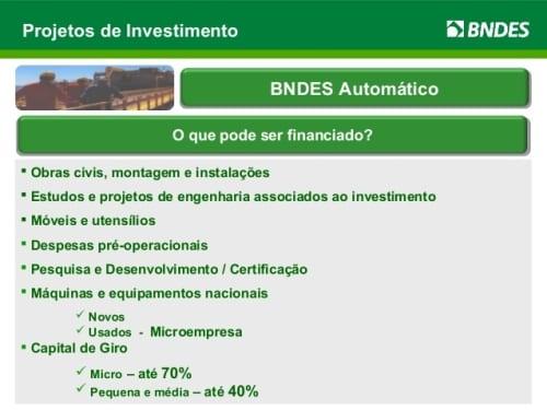Simulador BNDES: Financiamento Automático