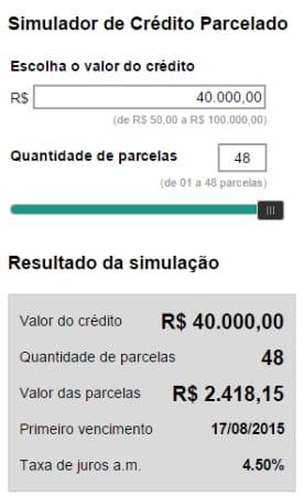 Simulação de empréstimo de R$40 mil