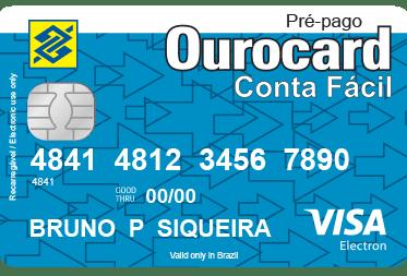 Veja o cartão pré-pago Ourocard Conta Fácil com bandeira Visa