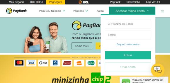 Faça o login na sua conta PagSeguro.