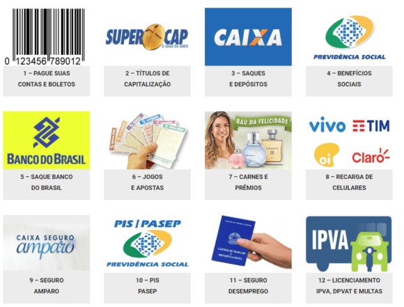 Conheça os serviços disponíveis nas lotéricas.