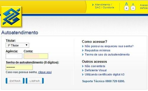 Acesso ao internet banking do Banco do Brasil