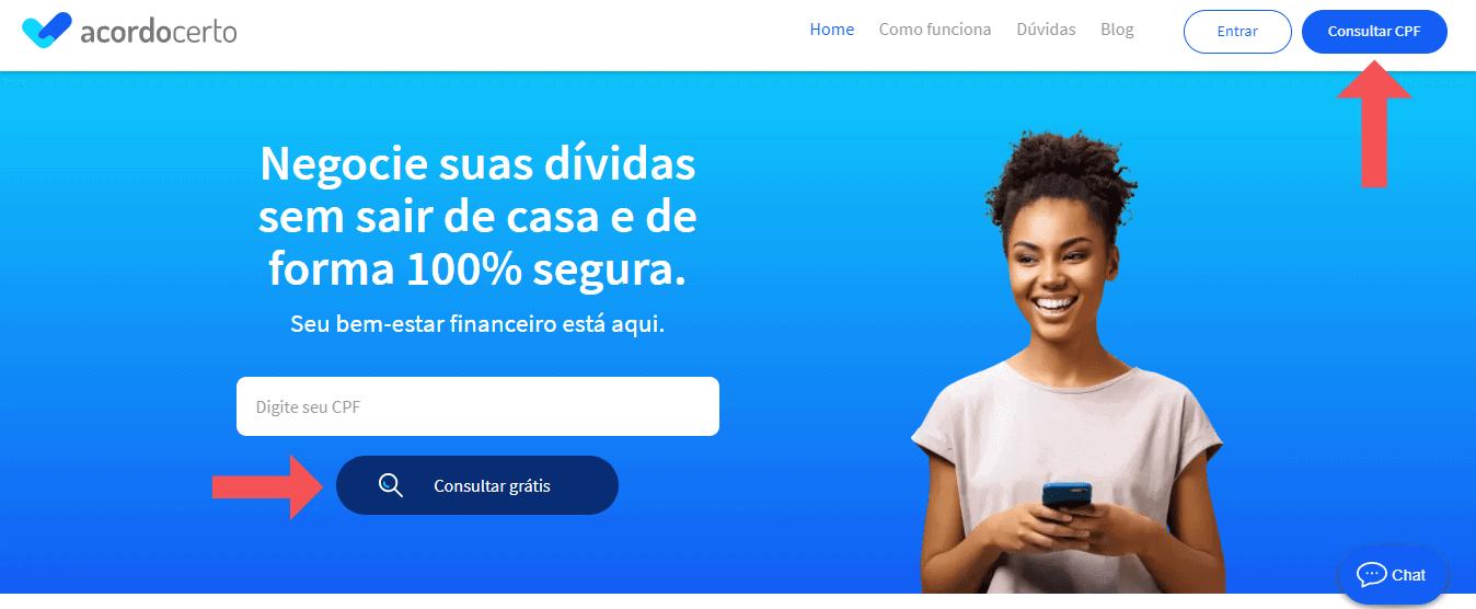 imagem da página inicial do site da acordo certo, mostrando como renegociar dívidas