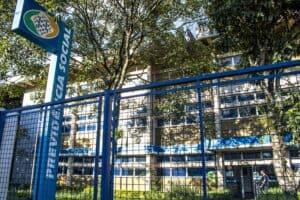 Marilia, São Paulo, Brazil, March 25, 2019. View of the INSS Agency Facade in the Center of Marilia